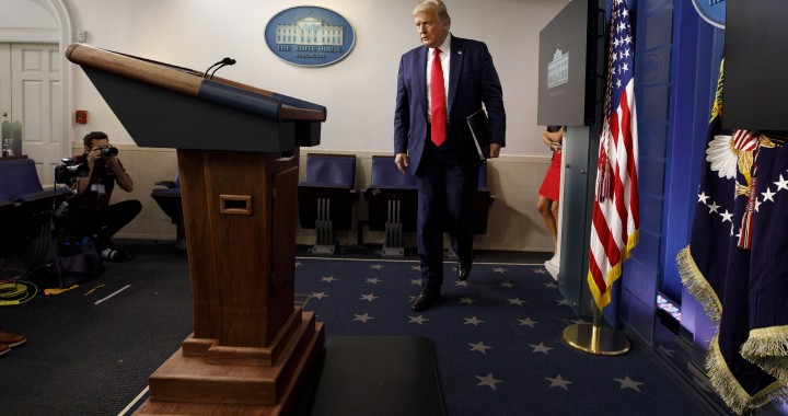 President Donald Trump arrives for a news conference at the White House, Thursday, July 23, 2020, in Washington. (AP Photo/Evan Vucci)