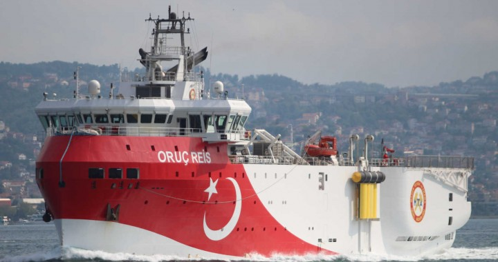 FILE PHOTO: Turkish seismic research vessel Oruc Reis sails in the Bosphorus in Istanbul