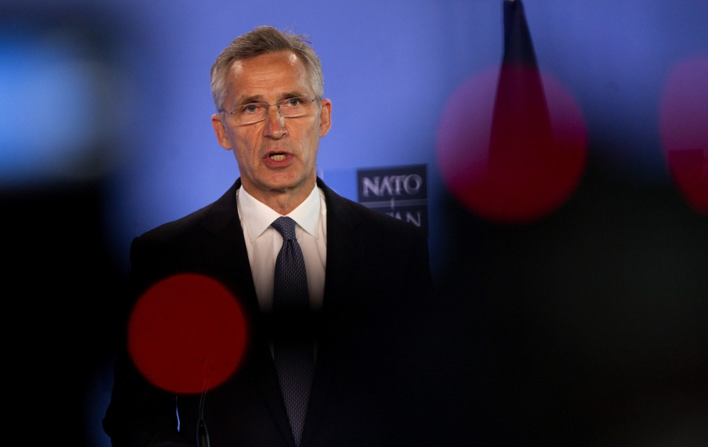 NATO Secretary General Jens Stoltenberg speaks during a joint press conference with U.S. Secretary of Defense Mark Esper at NATO headquarters in Brussels, Friday, June 26, 2020. U.S. Secretary of Defense Mark Esper is at NATO to follow-up on a broad range of issues raised during last week's NATO defense ministerial. (AP Photo/Virginia Mayo, Pool)