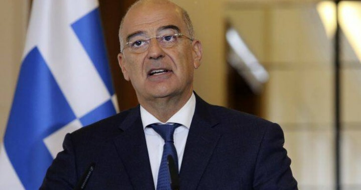 Greek Foreign Minister Nikos Dendias makes a statement with the Albanian Prime Minister Edi Rama after their meeting in Tirana, Tuesday, Oct. 20, 2020. Bilateral issues and maritime border delimitation in the Ionian Sea were the main topics of their discussion. (AP Photo/Hektor Pustina)